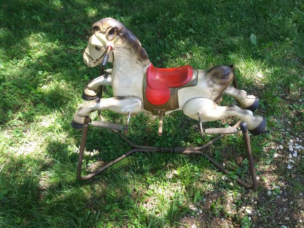 Tin toy vintage MOBO bouncy rocking horse made in England
