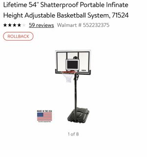 54 inch shatterproof lifetime basketball hoop adjustable in need Of assembly for Sale in Odessa, FL