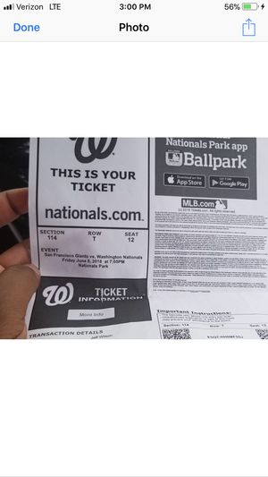 Nationals ticket for today $50 great seats for Sale in Silver Spring, MD