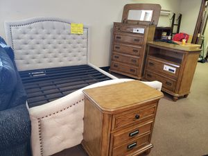 king bed frame, chest, media chest, 1 nightstand- new for Sale in West Columbia, SC