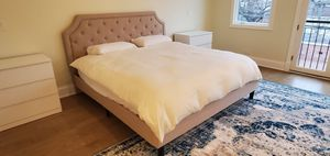 Beige Standard King Bed Frame for Sale in Chicago, IL