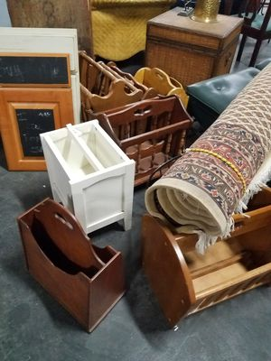 Assorted solid wood or metal magazine racks for Sale in Maywood, IL