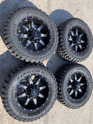 "New 20"" Black off road Rims and All Terrain tires 20 Wheels 20s Rines y llantas Dodge ram Chevy Silverado H2 Hummer GMC Sierra 2500 / 3500 Ford Supe for Sale in Dallas, TX"