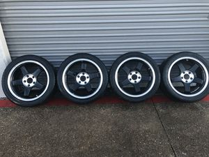 "17"" black machined Racing rims with tires for Sale in Fort Worth, TX"
