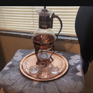VTG Princess House Copper Coffee/Tea Carafe, Stand, Tray w/Crystal Cream& Sugar for Sale in Clearwater, FL