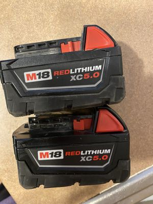 2 5.0 Milwaukee batteries excellent condition for Sale in Westmont, IL