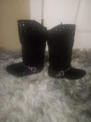Girl black bling boots size 2 for Sale in Mulberry, FL