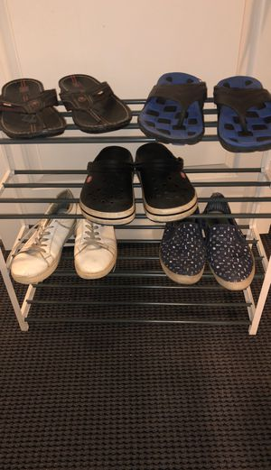 2 slippers 1 crocs and 2 shoes for Sale in Westover, WV