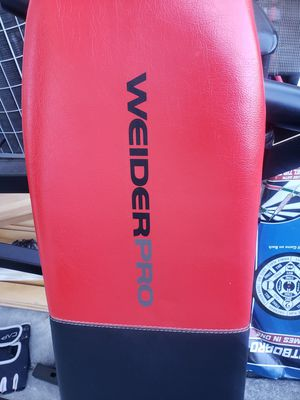 Weider bench with weights free pull up bar for Sale in Martinez, CA