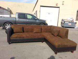 NEW 9x7ft CHOCOLATE MICROFIBER COMBO SECTIONAL CHAISE for Sale in US