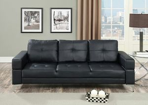 Blk plush leatherette futon🎈🎈🎈 for Sale in Fresno, CA