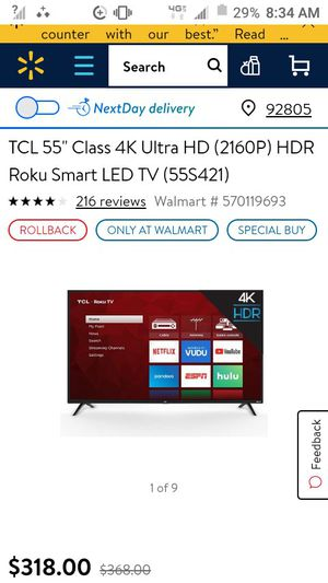 55 inch TCL Roku Smart LED TV for Sale in Anaheim, CA