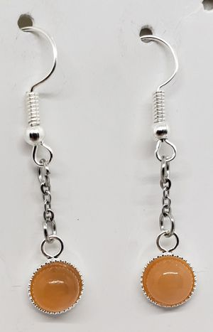 Natural Orange Moonstone Dangle Earrings for Sale in Justin, TX