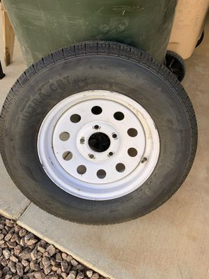 15 inch five lug trailer tire with the rim for Sale in El Mirage, AZ