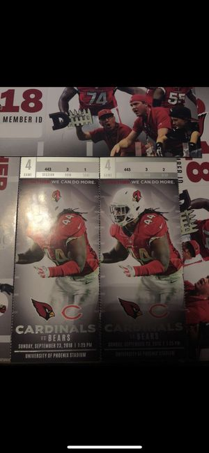 ARIZONA CARDINALS 3RD ROW VISITOR SIDE 45 YD LINE TICKETS EVERY HOME GAME for Sale in Tempe, AZ