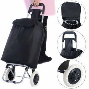 Black Large Capacity Light Weight Wheeled Shopping Trolley Push Cart Bag for Sale in Chino Hills, CA