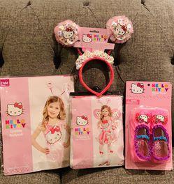 Hello kitty Sparkle BodySuit(Small4-6)Glovelettes&LegWarmer(4T),SlipperShoes(4T) & Headbopper for Sale in Salinas,  CA