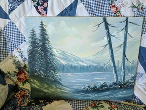 Medium Snowy landscape oil painting #2 for Sale in Canton, TX