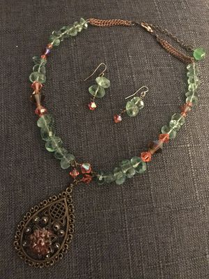 Authentic •Betty NYC• design semi-precious necklace earring set for Sale in Ashburn, VA