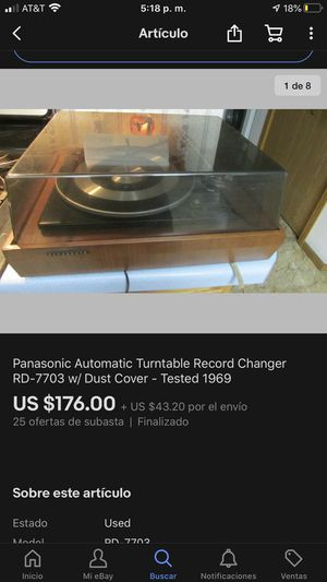 Panasonic Automatic Turntable Record Changer RD-7703 w/ Dust Cover - Tested 1969 for Sale in San Bernardino, CA