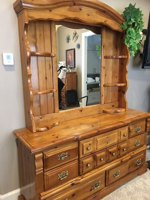 Queen sleigh bed set, pillow top mattress & box spring, hutch dresser, 5drawer dresser & 2 side tables, pine $500.00 for all pieces for Sale in Beaverton, OR