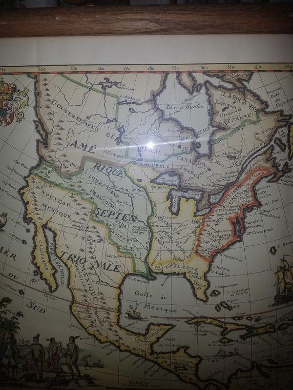 Framed Drawn Map Derveaux 1778