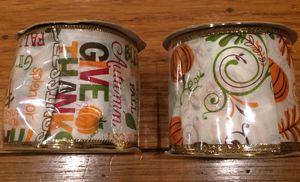 2 New Thanksgiving/Fall Wire Edged Ribbon for Sale in San Leandro, CA
