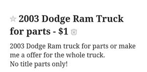2003 Dodge Ram Parting out for Sale in Dover, FL