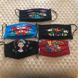 Bonitas Mascarillas Artesanales Con Bordado Y Forro for Sale in San Bernardino, CA