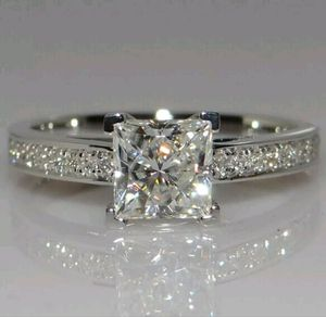 Brand new womens stamped 925 sterling silver princess cut genuine white sapphire engagement ring or promise ring for Sale in New Port Richey, FL