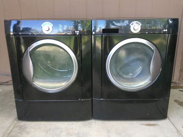 Black Frigidaire front loader washer and dryer set. Very nice, energy efficient, and reliable!