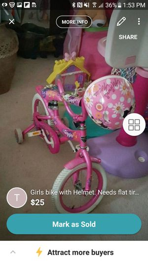 Girls bike and helmet $25 for Sale in Pasadena, MD