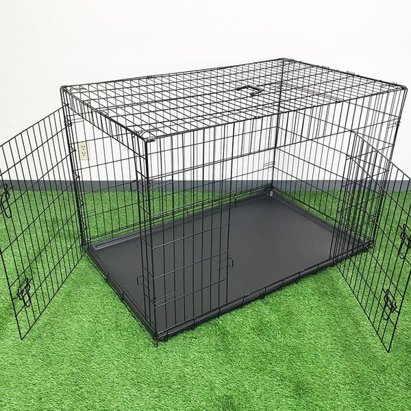 "New $65 Folding 48"" Dog Cage 2-Door Pet Crate Kennel w/ Tray 48""x29""x32"""