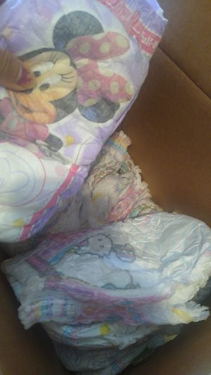 Box of pull ups size 4T-5T hello Kitty mostly a couple Minnie mouse design for Sale in Long Beach, CA