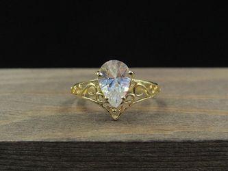 Size 5.5 10K Gold Filigree Cubic Zirconia Gem Band Ring Vintage Estate Wedding Engagement Anniversary Gift Idea Beautiful Elegant Unique for Sale in Everett,  WA
