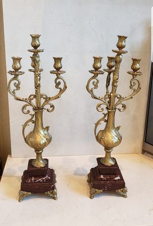 Pair of Antique Brass Candelabras Marble Base for Sale in HOFFMAN EST, IL