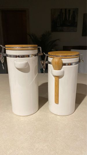 Two ceramic canisters kitchen containers for Sale in Glendale, AZ
