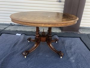 Antique 19th Century Walnut Veneer Table on Casters for Sale in San Lorenzo, CA