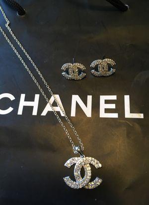 New 2 piece chanel zircon diamond earring set 75$ for Sale in Orlando, FL