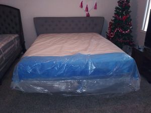 Brand new Cal king size bed Frame with brand new memory foam mattress for Sale in Fresno, CA