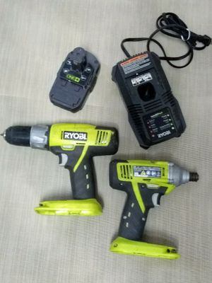 Ryobi One+ 18v cordless impact drill/driver set for Sale in Gilbert, AZ
