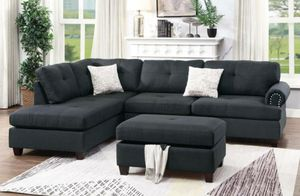 Sectional sofa black includes storage ottoman for Sale in Downey, CA