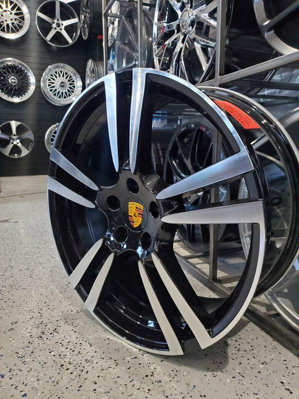 Porsche wheels fits Cayenne 22x9.5 black machine face 5x130 rim wheel tire shop