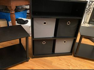 Two end tables and shelves with storage for Sale in Benson, NC