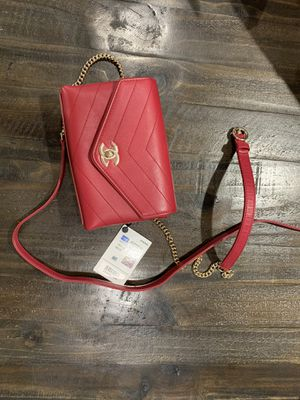 RED CHANEL CHEVRON STITCHED WAIST BAG for Sale in Solana Beach, CA