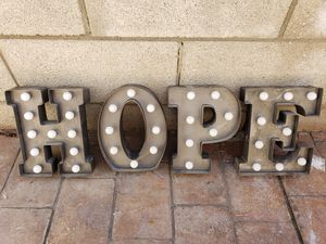 HOPE Metal Letter 9 x 7.5 Inches for Sale in West Covina, CA