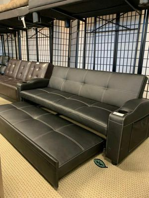 Best PRİCE 🔍🔎 $39 Down Easton Futon Sofa Bed with Cup Holders 559 for Sale in Jessup, MD