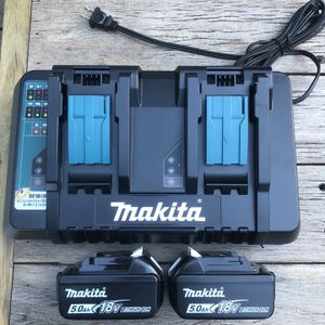 Makita Dual Charger And 2 5.0 Batteries Brand New for Sale in Miami, FL