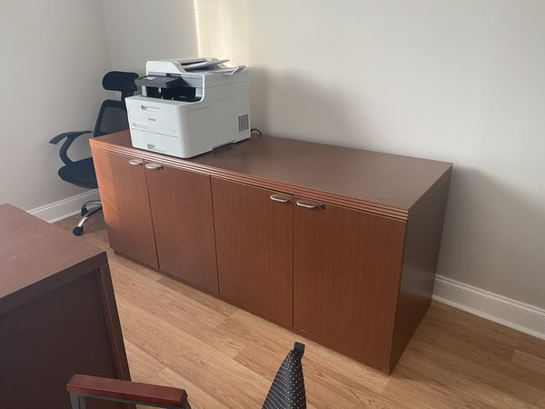 Office desk and file cabinets