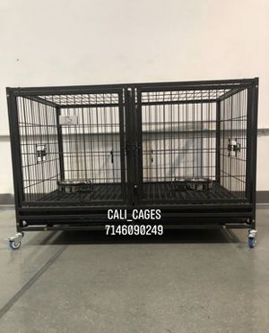 Dog pet cage kennel size 43 upper with divider tray and feeding bowls new in box 📦 for Sale in Chino, CA